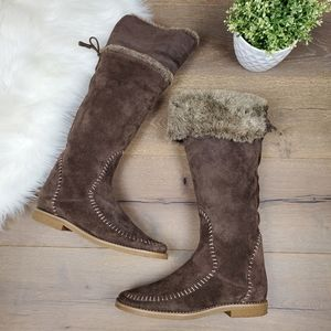 Jack Rogers Tall Brow Suede Boots Faux Fur Lining